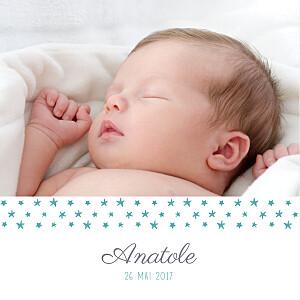 Faire-part de naissance étoile ruban étoilé 2 photos blanc turquoise