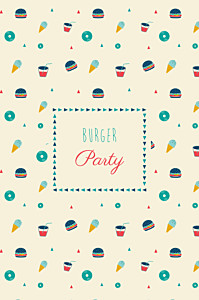 Carte d'anniversaire Burger party photo beige