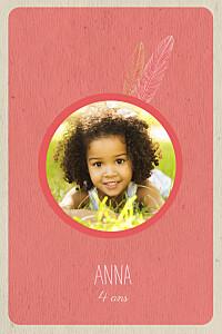Carte d'anniversaire orange plumes d\'indiens (4 pages) corail