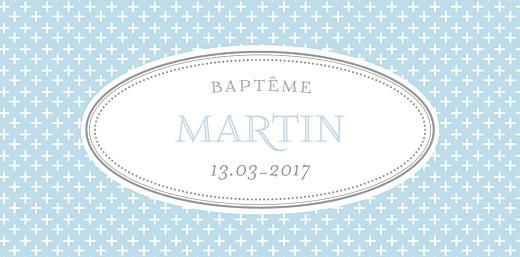Marque-place Baptême Motif chic bleu dragee