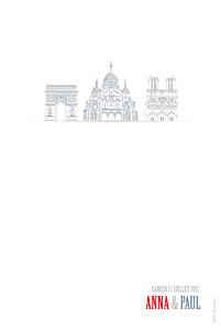 Carte de remerciement mariage Paris photo bleu-rouge-gris