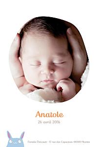 Faire-part de naissance fille lapin photo bleu