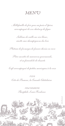 Menu de mariage Toile de jouy taupe - Page 2