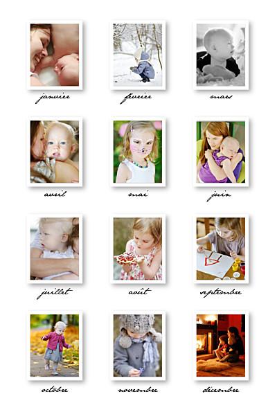 Carte de voeux 12 mois de l'année blanc finition