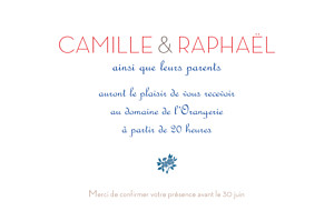 Carton d'invitation mariage Simplement liberty rouge
