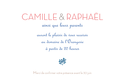 Carton d'invitation mariage Simplement liberty rouge finition