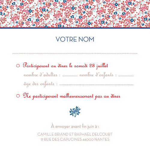 Carton réponse mariage Simplement liberty rouge