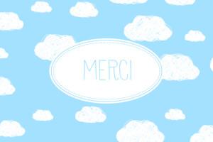 Carte de remerciement Merci petits nuages bleu