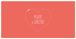 Faire-part de mariage Love and cut ! corail