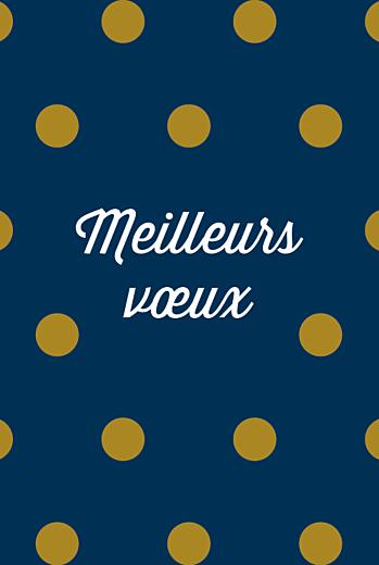 Carte de voeux Pois (3 photos) bleu doré