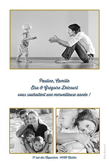 Carte de voeux Pois (3 photos) bleu doré - Page 2