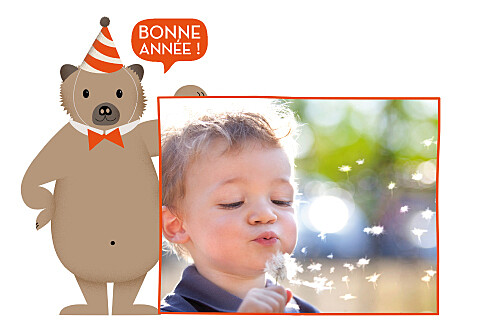 Carte de voeux Nounours orange