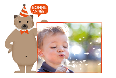 Carte de voeux Nounours orange finition