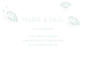 Carton d'invitation mariage Envolée vert d\'eau