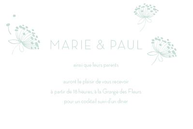 Carton d'invitation mariage Envolée vert d\'eau finition