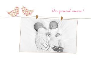 Carte de remerciement Merci poétique jumeaux rose