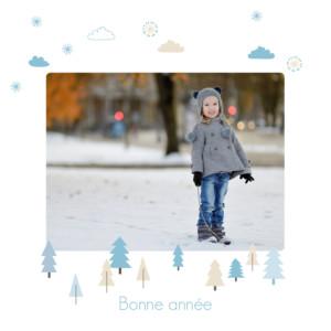 Carte de voeux Winter forest bleu