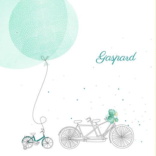 Faire-part de naissance À bicyclette (1 enfant) photos vert
