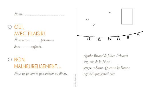 Carton réponse mariage Promesse champêtre blanc
