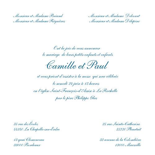 Faire-part de mariage Ruban liberty (carré) bleu - Page 3