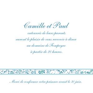 Carton d'invitation mariage Ruban liberty bleu