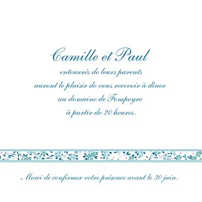 Carton d'invitation mariage Ruban liberty bleu finition
