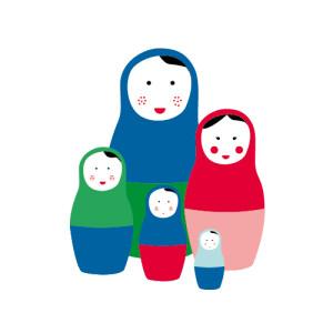 Faire-part de naissance 5 poupées russes photo bleu rouge