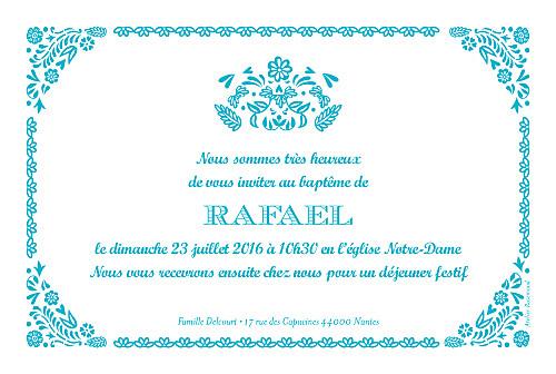 Faire-part de baptême Papel picado photo turquoise - Page 2