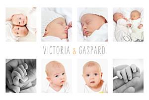 Faire-part de naissance jumeaux jumeaux 9 photos blanc