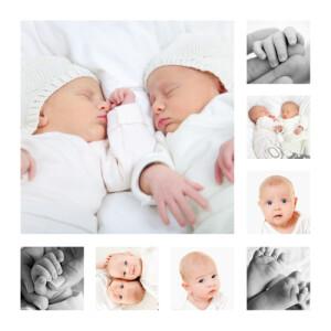 Faire-part de naissance Jumeaux en détail blanc