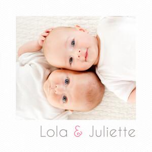 Faire-part de naissance Jumeaux polaroid blanc