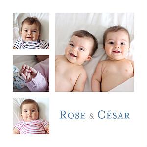 Faire-part de naissance jumeaux jumeaux 6 photos blanc