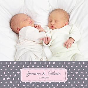 Faire-part de naissance jumeaux jumeaux nuit étoilée gris et rose pâle