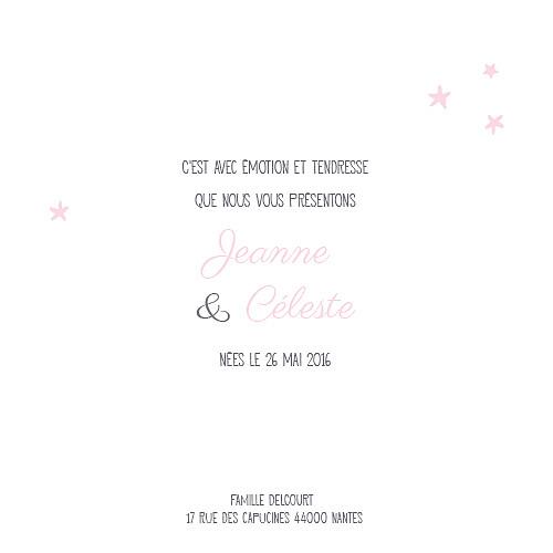 Faire-part de naissance Jumeaux nuit étoilée gris et rose pâle