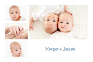 Faire-part de naissance Jumeaux 6 photos paysage blanc