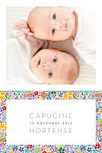 Faire-part de naissance jumeaux jumeaux mille fleurs jaune & rouge