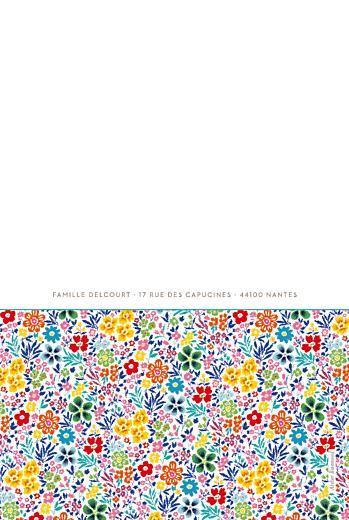 Faire-part de naissance Jumeaux mille fleurs jaune - Page 4