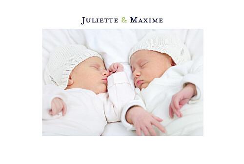 Faire-part de naissance Jumeaux 2 photos paysage blanc