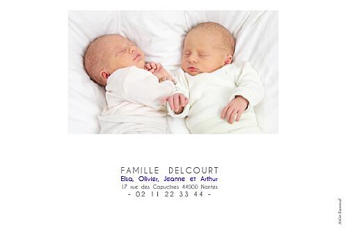 Faire-part de naissance Jumeaux justifié 4 photos blanc - Page 4
