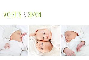 Faire-part de naissance jumeaux jumeaux 3 photos blanc