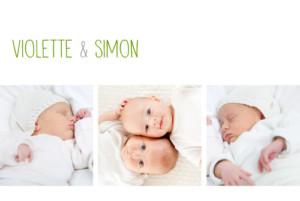 Faire-part de naissance Jumeaux 3 photos blanc