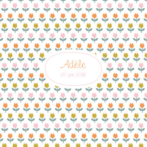 Faire-part de naissance Tulipes photo orange