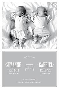 Faire-part de naissance gris jumeaux balançoire gris