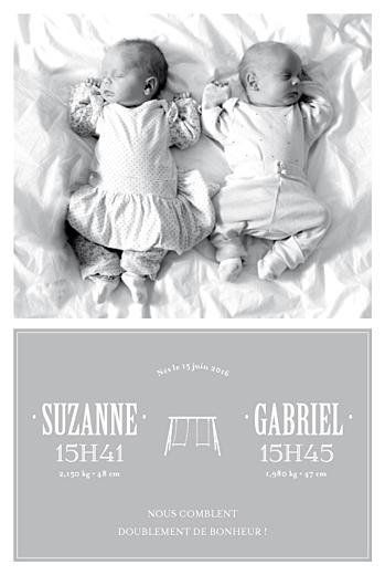 Faire-part de naissance Jumeaux balançoire gris