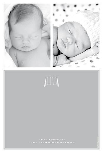 Faire-part de naissance Jumeaux balançoire gris - Page 2