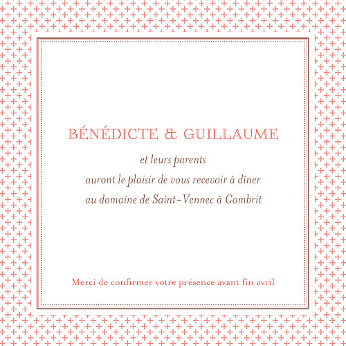 Carton d'invitation mariage Motif chic corail - Page 2