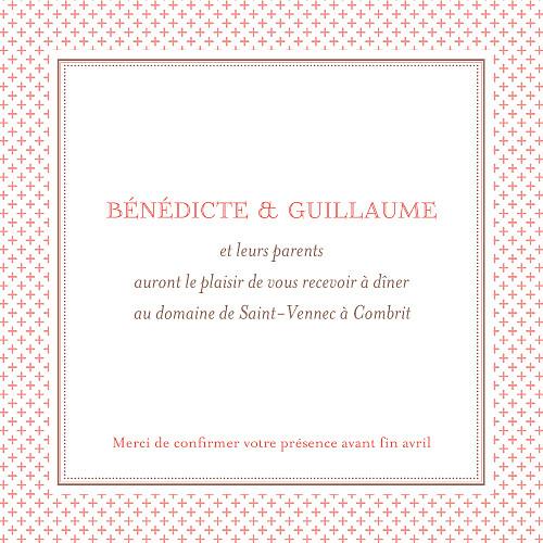 Carton d'invitation mariage Motif chic corail