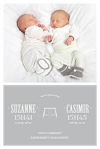Faire-part de naissance jumeaux jumeaux balançoire 5 photos gris