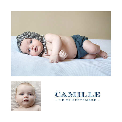 Faire-part de naissance Justifié 2 photos bleu marine