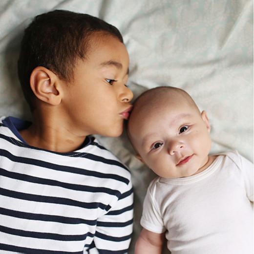 Faire-part de naissance Bilingue justifié 2photos lila